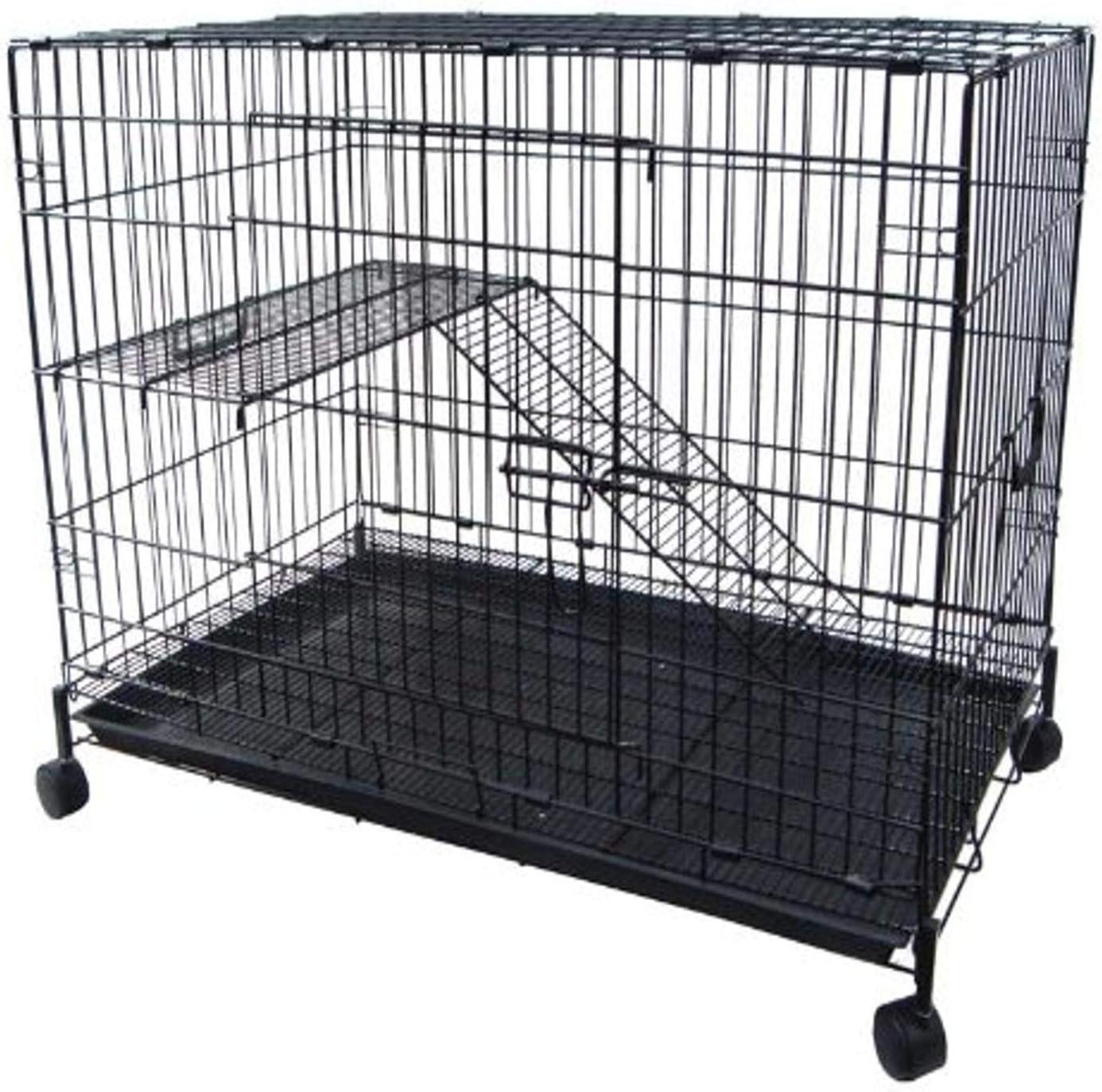 YML 2-Level Small Animal Chichilla Cat Ferret Cage, Black