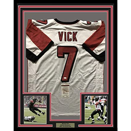 3a54b573495 Image Unavailable. Image not available for. Color: Autographed Michael Vick  Jersey - FRAMED MIKE 33x42 White COA - JSA Certified - Autographed NFL