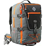 Equator Backpacking Cabin Luggage - Flight Approved Hand luggage backpack, with integrated Rain cover, waist and chest straps. (Grey/Orange)