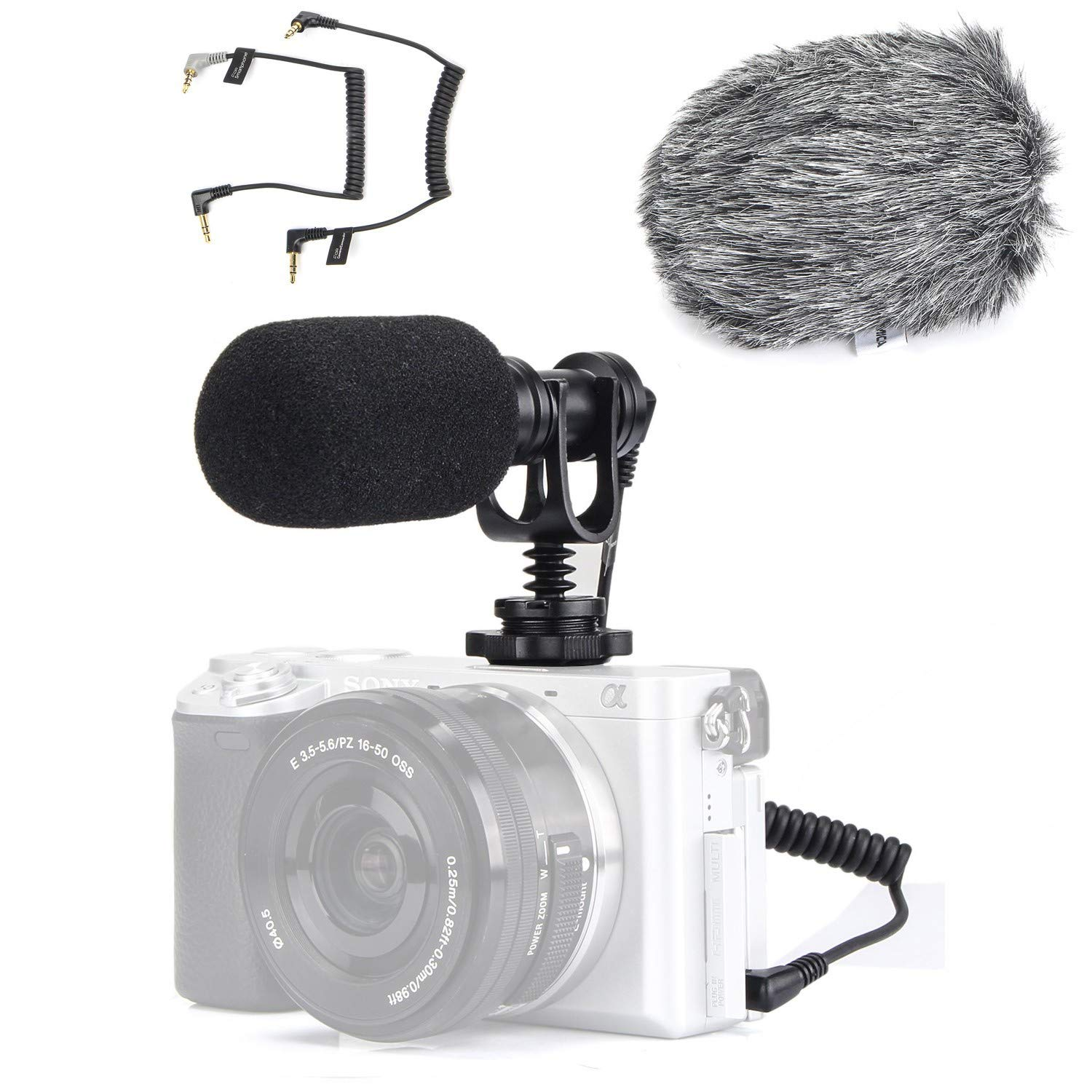EACHSHOT Video Microphone Mic for Camera Canon, Nikon, Sony A7III A6500 A6400 A6300, Panasonic GH5 GH4, GoPro Mic Adapter, iPhone Vlog Vlogger w/ 3.5mm TRRS TRS Cable [NOT for Rebel T6] by EACHSHOT