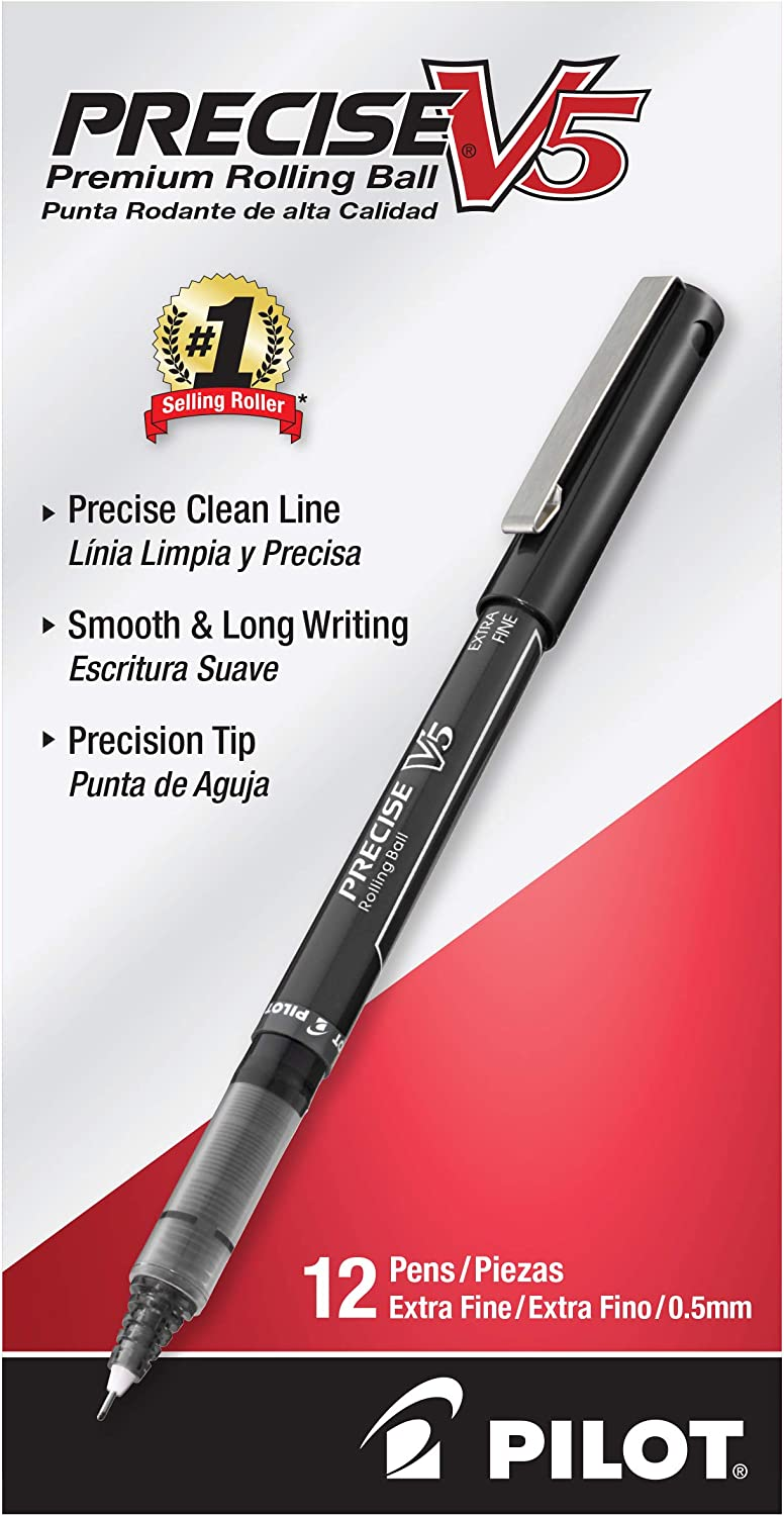 Pilot Precise V5 Stick Liquid Ink Rolling Ball Stick Pens, Extra Fine Point, Black Ink, 12 Count (35334): Office Products