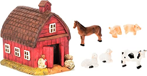 Miniature Fairy Garden Realistic Resin Red Barn House – 3.375 x 4.25 – and 6pc Farmyard Animals Set Tiny Sheep, Pigs, Cow, Horse – 1 -2 x 1 -2 – for Outdoor or House Decor -Bundle of 7-Items