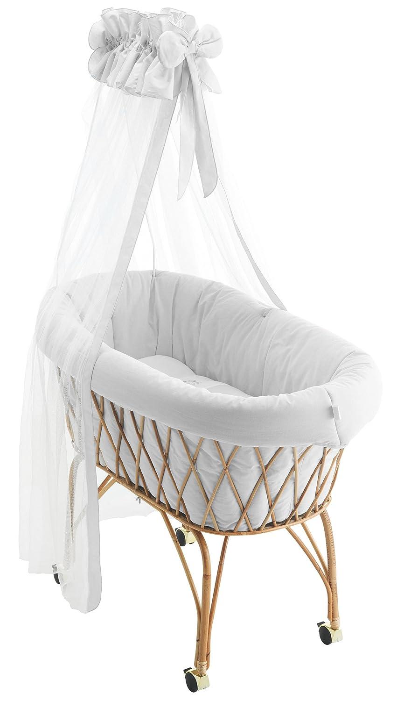 Pali Baby Stubenwagen mit Himmel komplette Babywiege Weiß