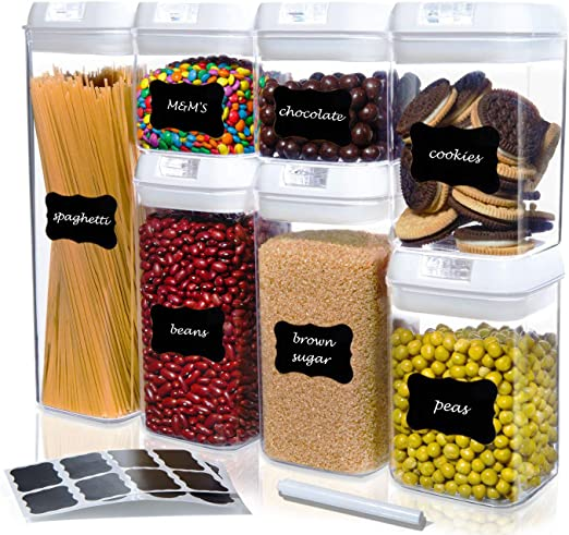 Kitchen Logic Airtight Food Storage Containers with Lids, Easy To Lock, Kitchen Pantry Organization and Storage Canister Set for Cereal, Pasta, Plus Labels, Marker, BPA-Free, 7 Piece Set (White Lids)