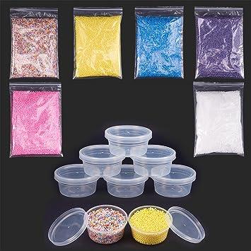 NBEADS 6 bolsas de 2,5~3,5 mm bolas de poliestireno para Slime colorido bolas de espuma para manualidades con 20 piezas de contenedores de almacenamiento ...