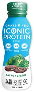 Iconic Protein Drinks, Cacao + Greens (12 Pack)   Grass Fed Protein Shakes with Organic Veggies & Unroasted Cacao   Low Carb Superfood Drink   Lactose Free, Gluten Free, Soy Free   Keto Friendly