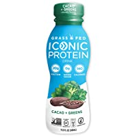 Iconic Protein Drinks, Cacao + Greens (12 Pack) | Grass Fed Protein Shakes with...