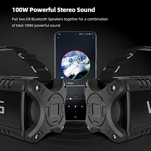 50W 70W Peak Wireless Bluetooth Speakers Built-in 8000mAh Battery Power Bank, W-KING Outdoor Portable Waterproof TWS, NFC Speaker, Powerful Rich Bass Loud Stereo Sound All Black