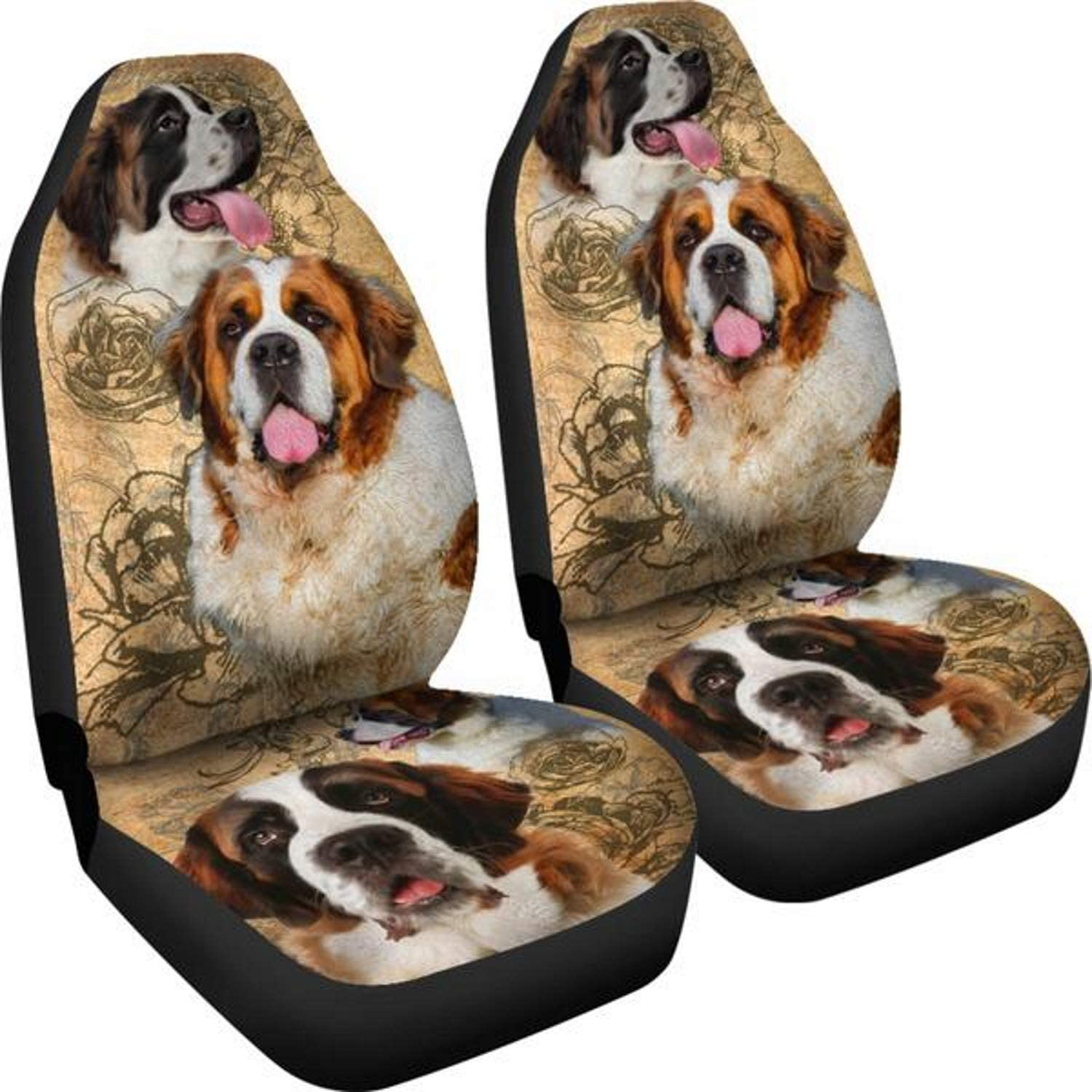 Muggalicious St Bernard Universal Fit Car Seat Cover Set for Dog Lovers