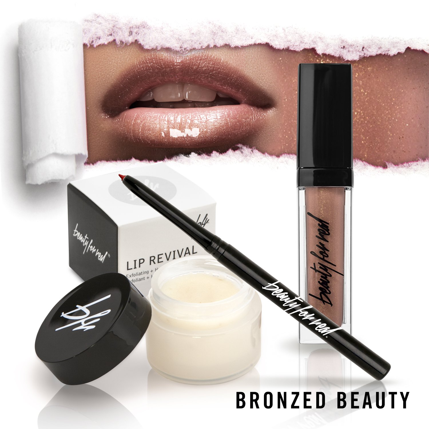 Perfect Pout Lip Set Beauty For Real Lip Revival Exfoliating and Hydrating Lip Scrub, D-fine Universal Lip Liner and Lip Gloss (Bronzed Warm Nude)