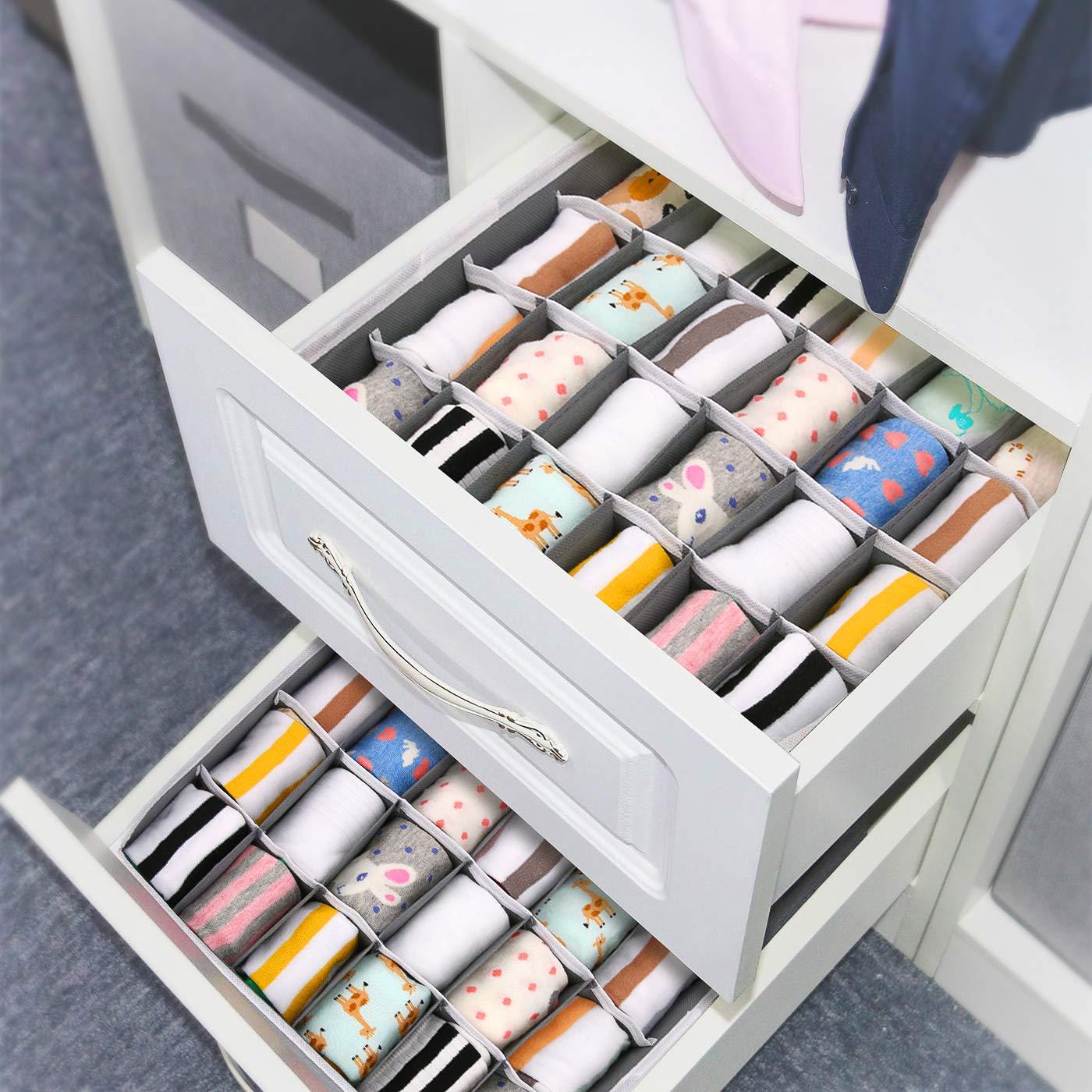 Belts Drawer Organizers Dividers 2 Packs Underwear Drawer Organizer Bra Ties LEEFE 24 Cell Collapsible Closet Cabinet Organizer Underwear Storage Boxes for Storing Socks Handkerchiefs