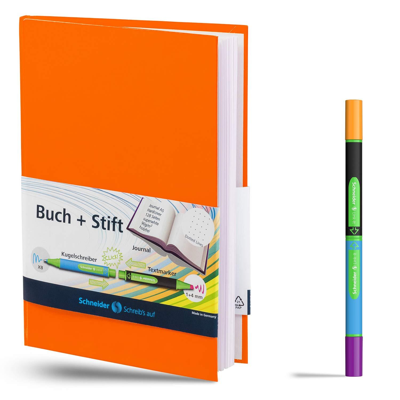 Schneider Notizbuch A5 mit Link-It Slider lindgr/ün Punkteraster, 128 Seiten, Kugelschreiber blau und Textmarker gelb