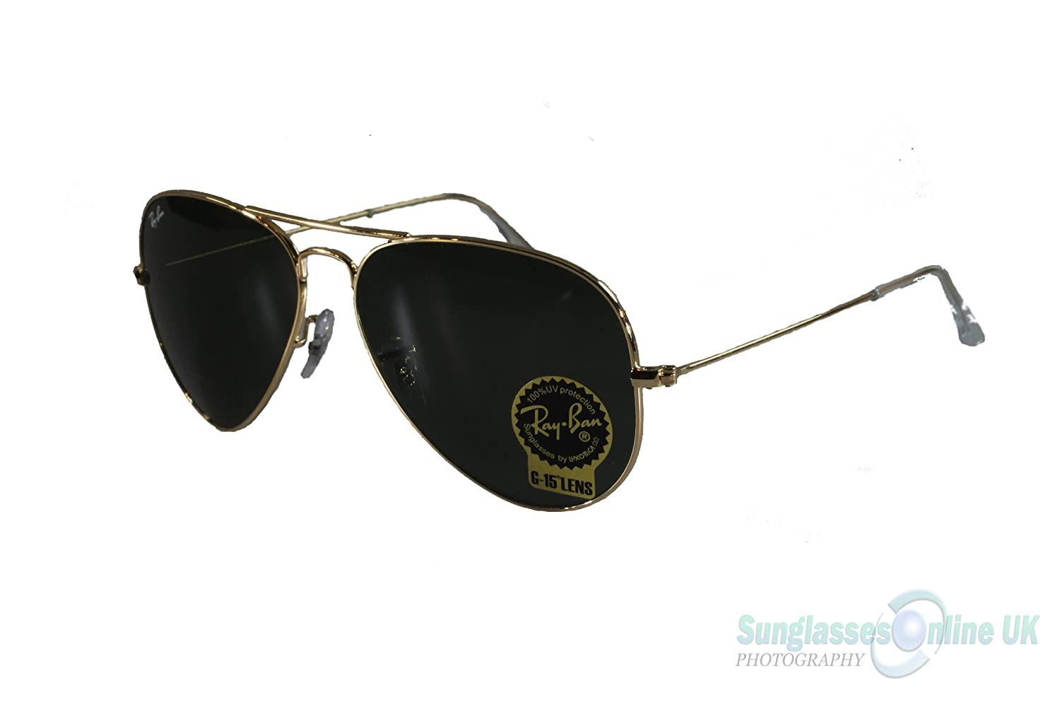 3d87aef7c34c Ray Ban Large Metal Aviator Sunglasses - Model 3025 L0205 - Gold Frame with  G15 XLT Toughened Glass Safety Lenses - 58mm Lens size - Box with Ray Ban  case ...