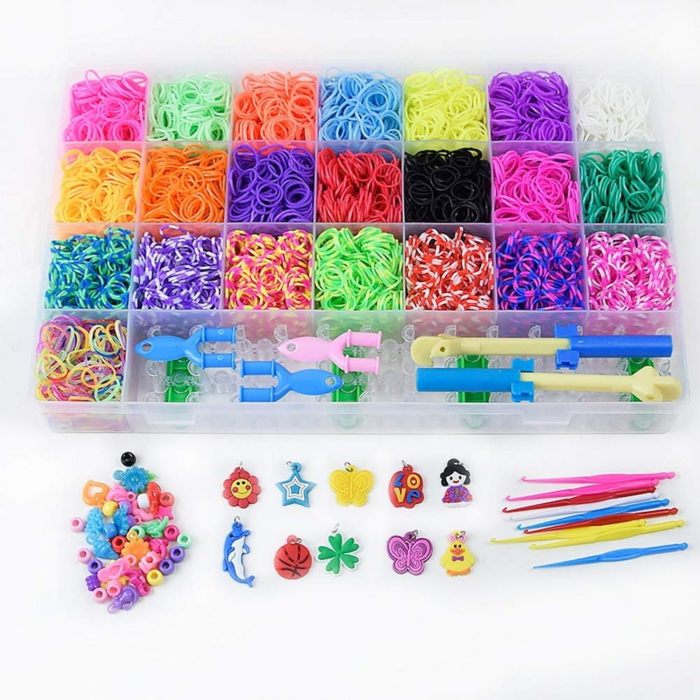 6800Pcs Rainbow Loom Rubber Bands with Box Colorful Elastic Silicone Bangle for Crafting DIY Wave Needlework Creativity Weaving Lacing Keychain and Bracelet