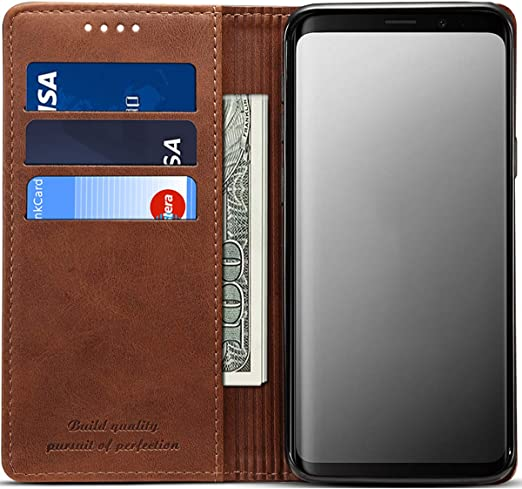 Flip Case for Samsung Galaxy S10 Plus S10+ Brown PU Leather Wallet Cover Compatible with Samsung Galaxy S10 Plus S10+