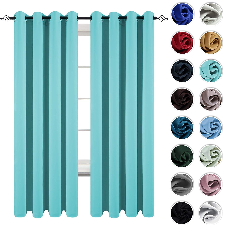 KEQIAOSUOCAI Kids Room Turquoise Curtains 84 Inch Window Treatment Noise Reduce Grommet Blackout Drapes Sets 2 Pcs 52x84