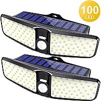 Cocoda Luz Solar Exterior Jardin, 100 Leds Focos Solares Sensor de Movimiento con Iluminación de Gran Angular de 220°, Lámpara de Pared Inalámbrica IP65 Impermeable para Garaje, Patio, Valla (2 Pack)