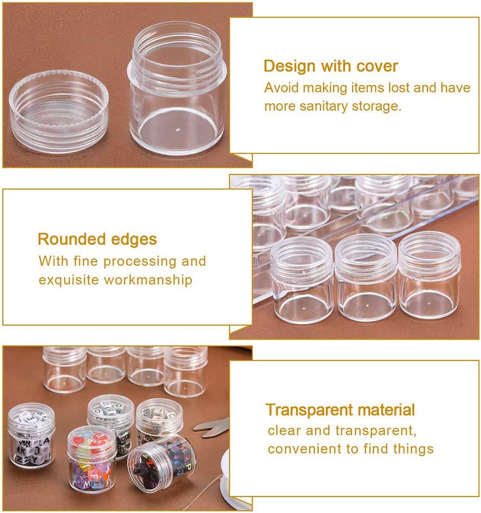 Legendog 30 Grids Diamond Painting Storage Containers Embroidery Accessories Diamond Art Painting Tool Boxes Organizers Clear Plastic Bead Storage Containers Light Boxes for Diamond Painting