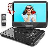 """WONNIE 12.5"""" Lecteur DVD Portable avec écran Rotatif de 10,5"""" à 270°, Carte SD et Prise USB avec Charge directe Formats/RMVB / AVI / MP3 / JPEG, Parfait pour Enfants (Noir)"""