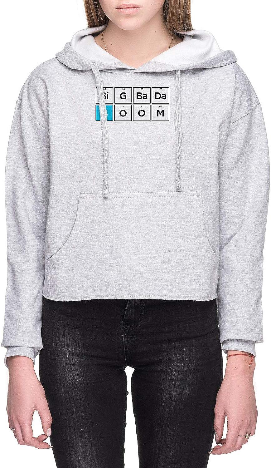 Boron Mujer Sudadera con Capucha De Crop Gris Todos Los Tamaños - Women's Crop Hoodie Sweatshirt Grey
