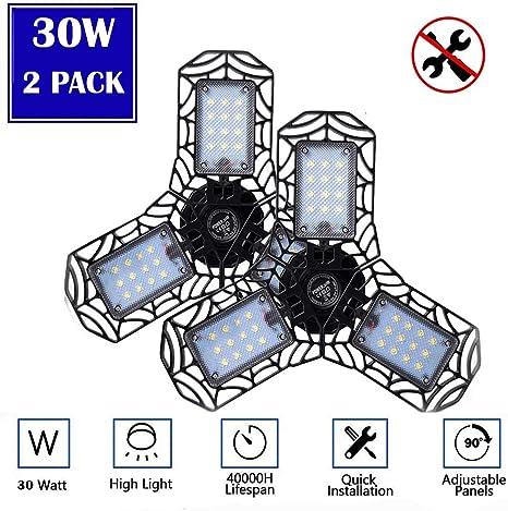 LED Garage Light 2 Pack 30W E26 3000LM Deformable LED Garage Ceiling Lights 3000K Daylight White,LED Shop Lights for Garage Warehouse Workshop Basement