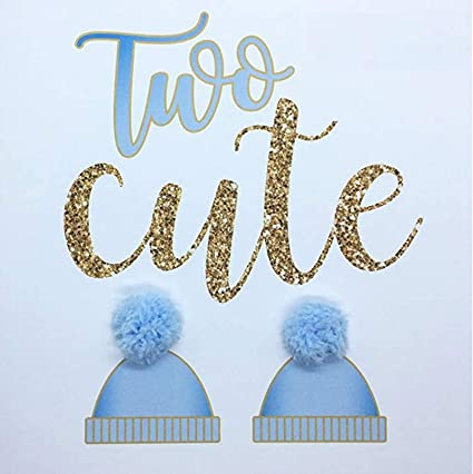 Two Cute New Twin Boys Baby Birth Congratulations Announcement Card Hand Finished With Blue Pompoms Amazon Co Uk Office Products