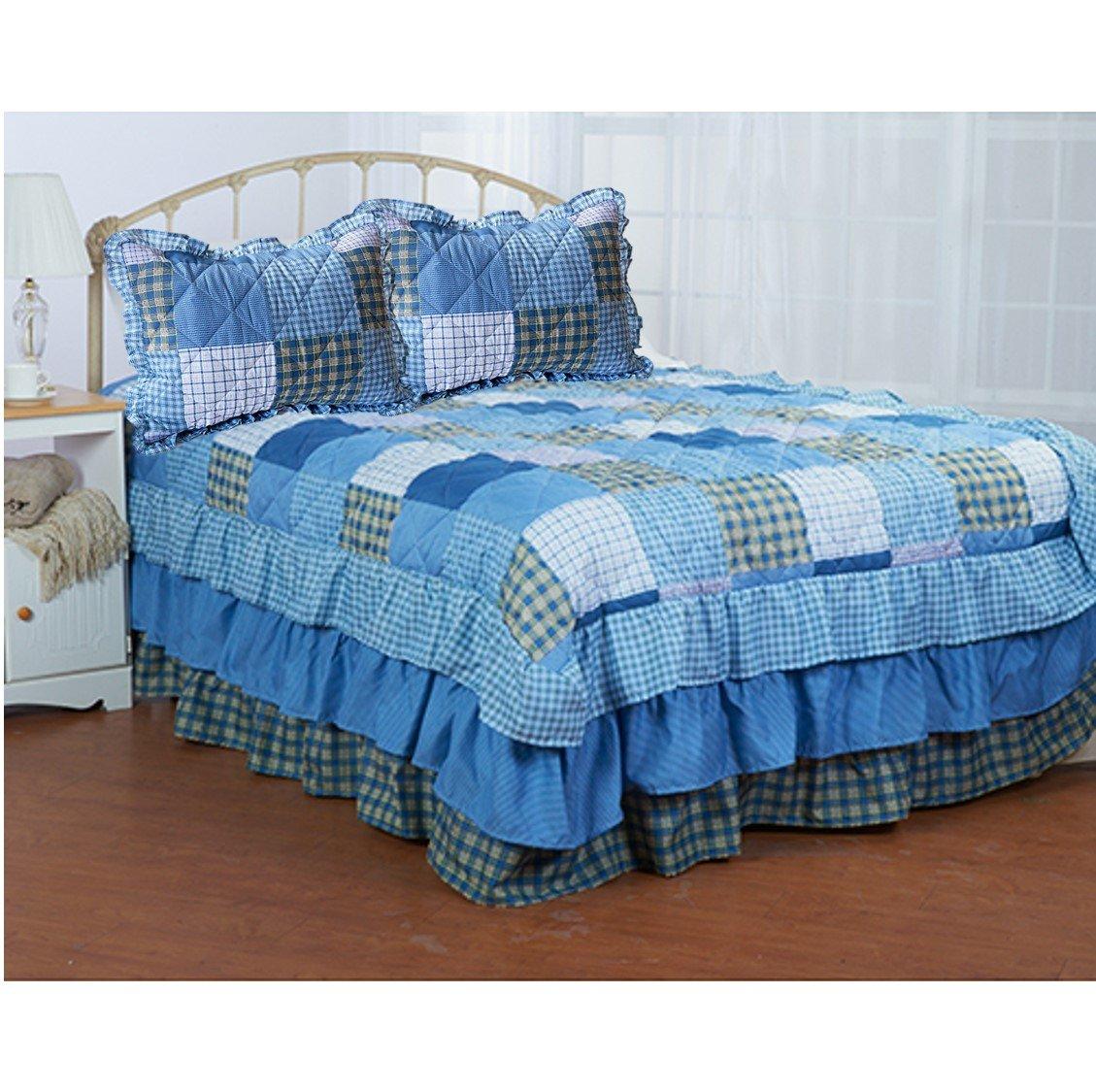 2ピースGramercy Park Mulberry正方形パッチワークベッドスプレッドセット、ブルー、ツイン色相 B06XZF6SJS