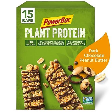 PowerBar Plant Protein Bar, Dark Chocolate Peanut Butter, 1.76 oz Bar, 15 Count