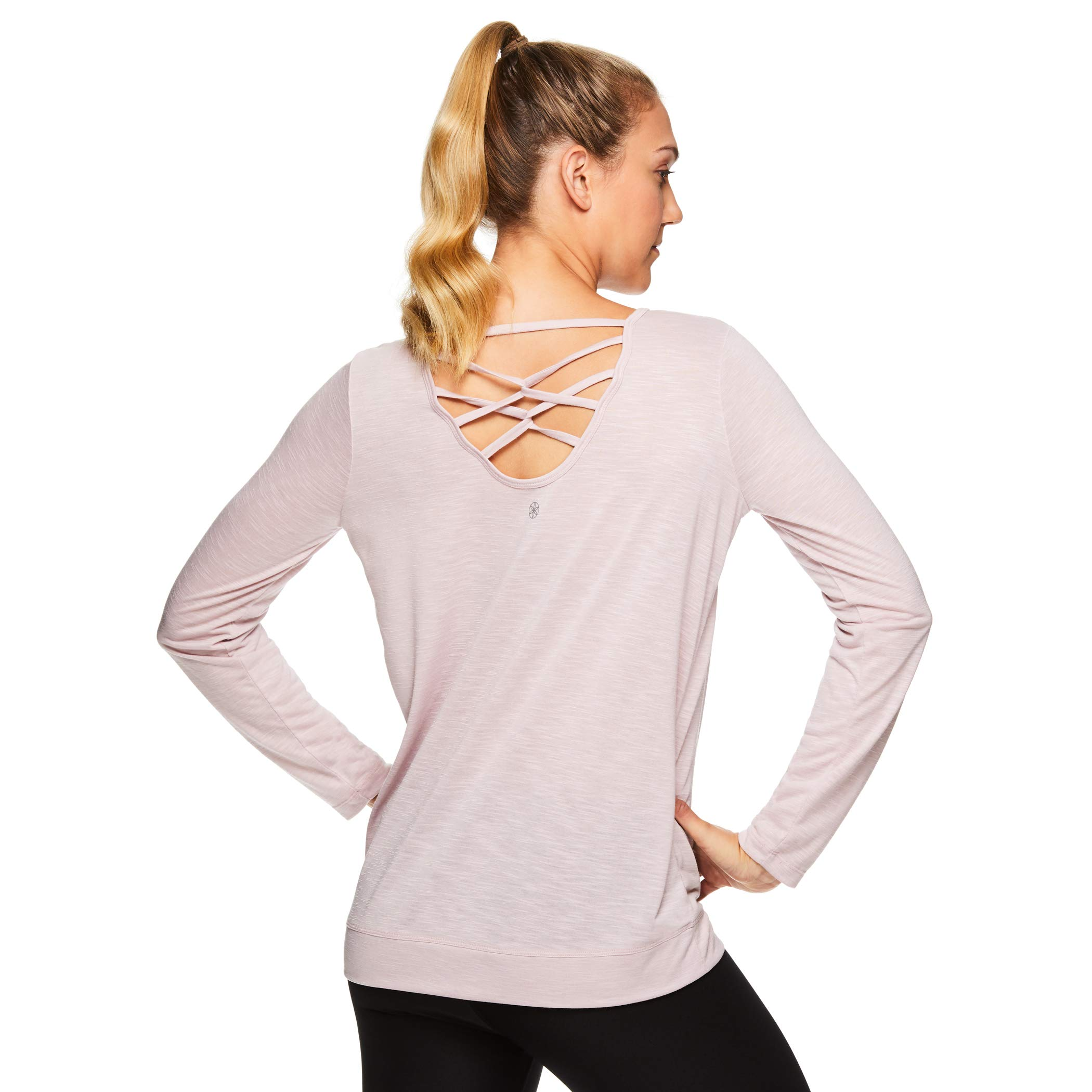 Gaiam Women's Long Sleeve Yoga & Workout T Shirt - Athletic Gym Top with Strappy Open Back Detail - Tessa Violet Ice Pink, Small by Gaiam