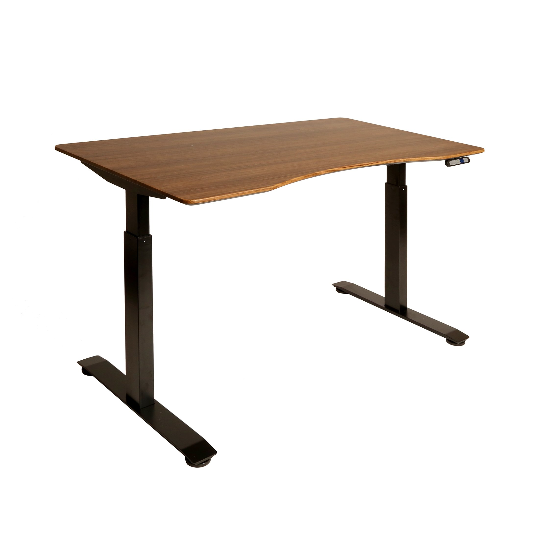 Seville Classics AIRLIFT S2 Electric Standing Desk Frame /w 54'' Top and 4 Memory Buttons LED Height Display (Rises to 48.4'') - 2-Section Base, Dual Motors, Black with Walnut Top
