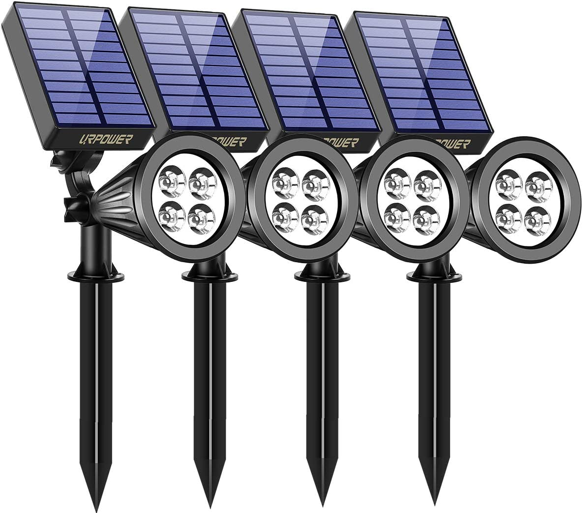 URPOWER Solar Lights Waterproof Solar Lights Outdoor 2-in-1 Adjustable Solar Spotlight Wall Light Auto On Off Solar-Powered Landscape Lighting for Garden Yard Pathway Swimming Pool 4Pack-Cool White