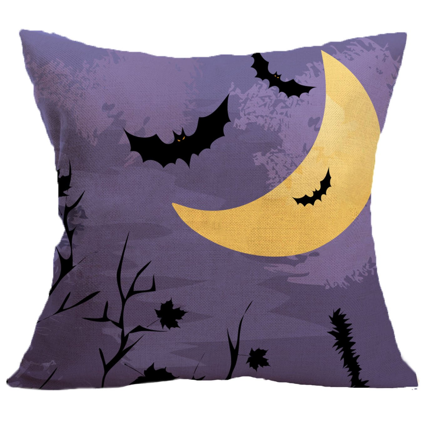 MIFAVOR Halloween Pillow Covers 18x18 Set of 4 Linen Blend Square Burlap Decorative Throw Pillowslip Cushion Cover