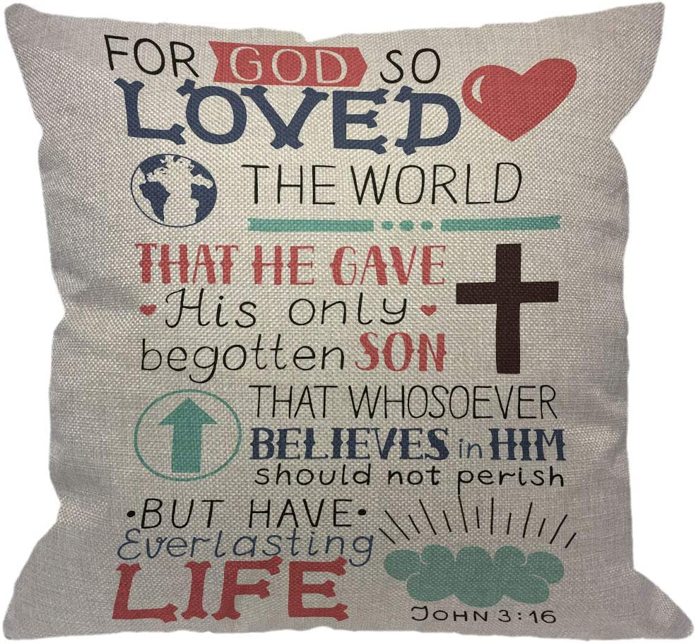 HGOD DESIGNS Golden Bible Verse Throw Pillow Cover,Lettering with Heart Cross Christian Biblical John 3 16 for God So Loved The World Decorative Pillow Cases Cushion Cover for Sofa Couch 18x18 inch