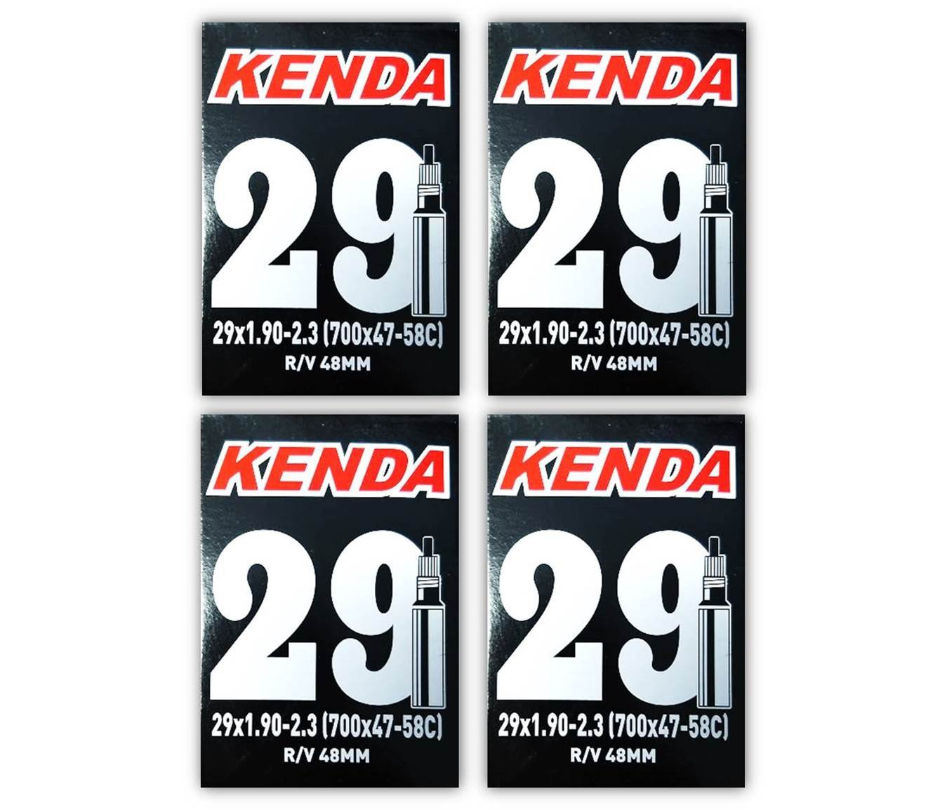 Kenda 29er Bicycle Tube 29x1.9/2.3'' (48mm Presta R/V) - FOUR PACK w Decal/Sticker