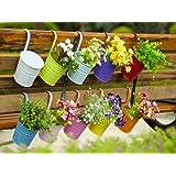 Dipamkar® Lot de 10 Pot de fleurs en métal pour balcon