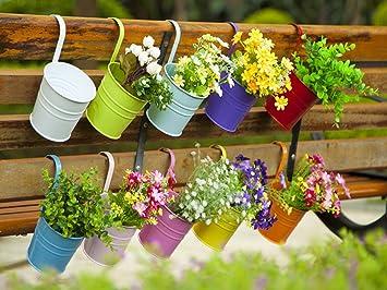 Dipamkar® Set Of 10 Metal Pots Hanging Plant Pots Flower Pots With Drainage  Hole Flower