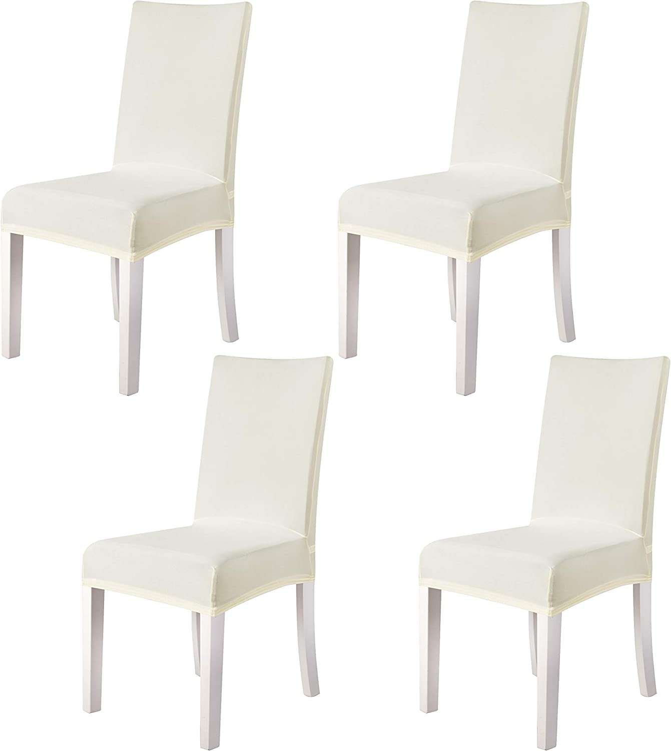 4 Pieces Spandex Stretch Washable Dining Room Chair Cover Slipcovers