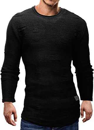 MERISH Sueter para Hombre con Cuello Redondo Slimfit Camisa Larga Patrones Que Hacen Punto Muy Hermosa Moderno y Elegante, Modell 721