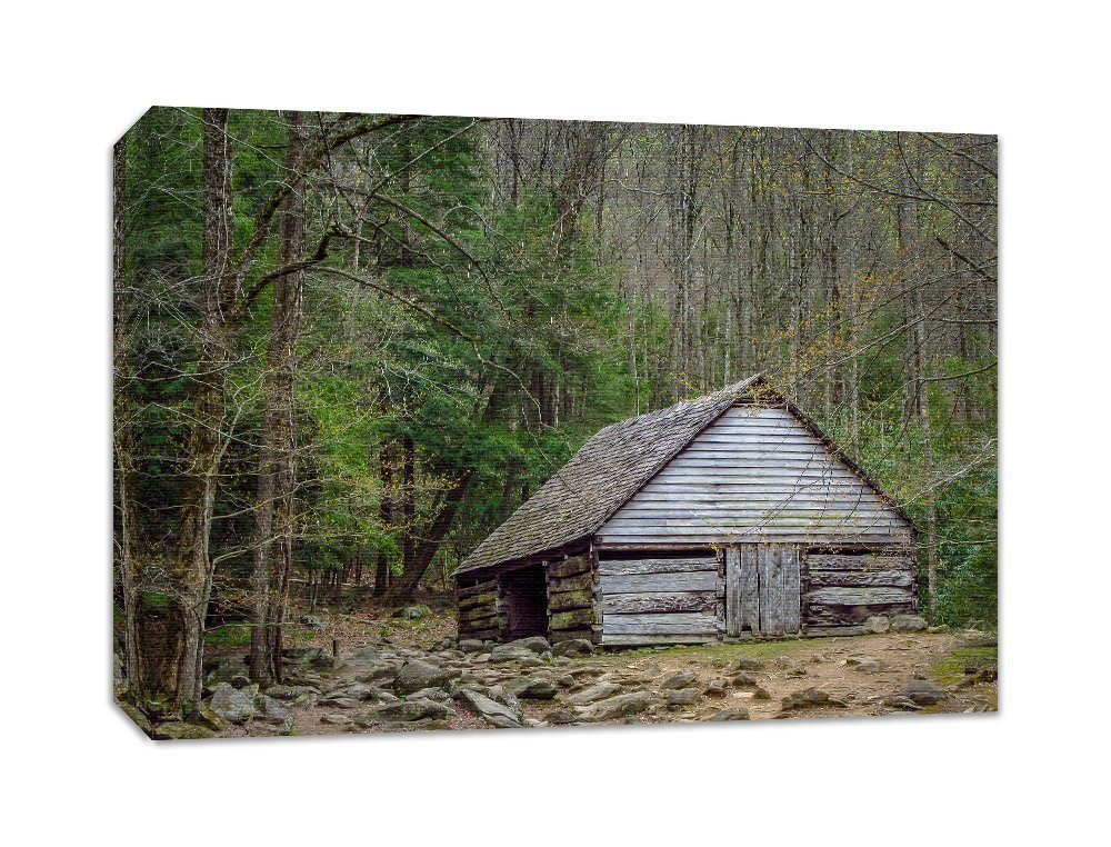 Barn Photography Canvas Farm House Wall Art Rustic Picture Smoky Mountains 'Bud Ogle Barn'