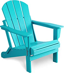 Bacswihom Folding Adirondack Chair Outdoor, Weather Resistant Patio Chairs for Garden, Deck, Backyard, Lawn Furniture, HDPE Poly Lumber Easy Maintenance & Classic Adirondack Chairs Design, Aqua Blue
