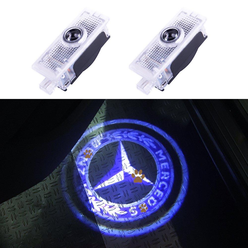 JKCOVER for Mercedes-Benz E Couple - A207 C207, CLS - C218, CLA-Class Car Door LED Laser Projector Blue Circle Logo Light, Car Modification Ghost Shadow Lights - 2pcs
