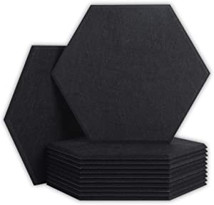 12 Pack Acoustic Panels Sound Proof Padding,14 X 13 X 0.4 Inches Hexagon Sound Dampening Panels Used in Home,Studio& Offices, Black