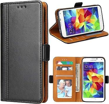 Bozon Coque Galaxy S5, Housse pour Samsung Galaxy S5 en Cuir Portefeuille Etui avec Fentes de Cartes, Fonction Support, Fermeture Magnétique (Noir)