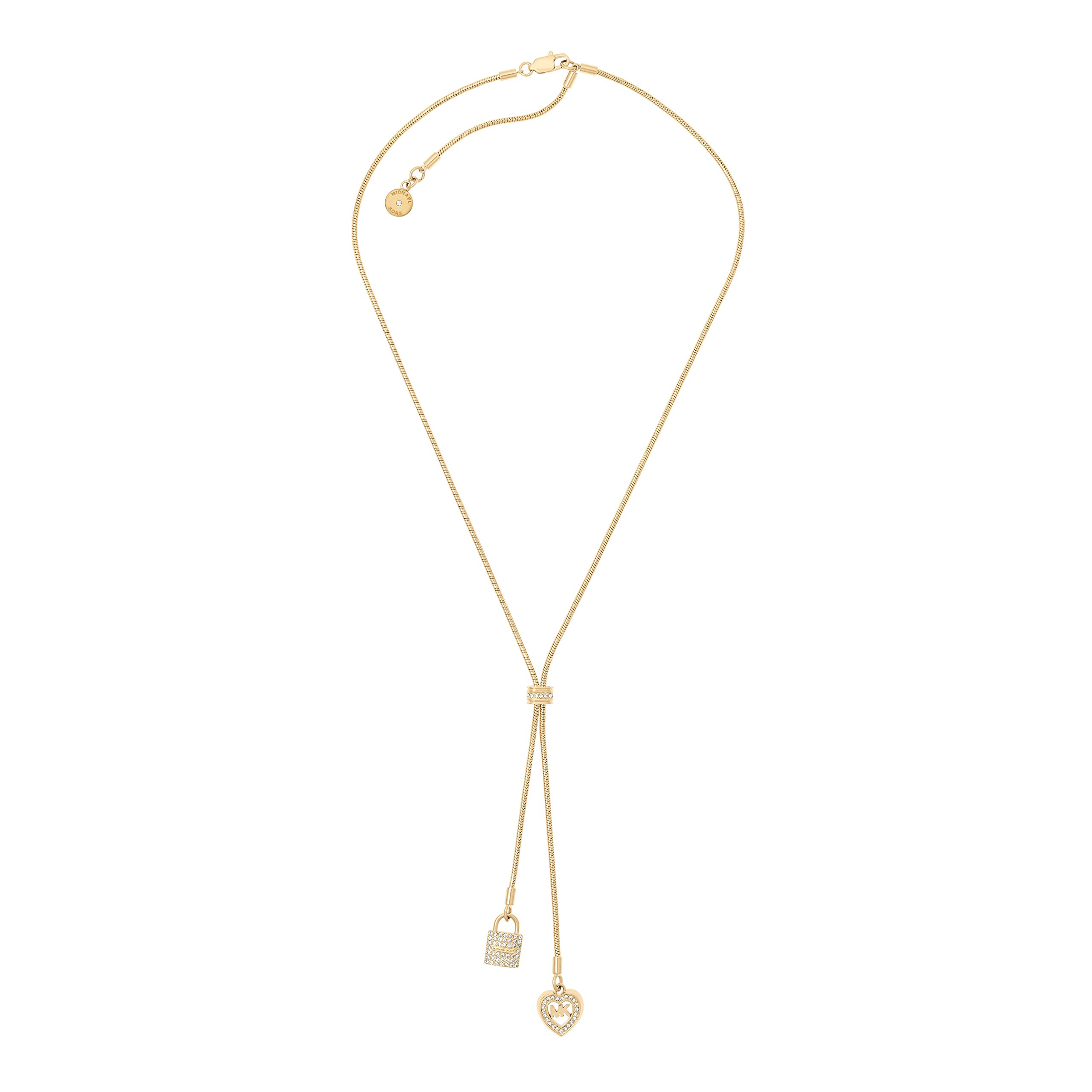 Michael Kors Womens Gold-Tone Charm Y Shaped Necklace, One Size