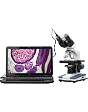 AmScope B120C-E1, microscopio binoculare digitale composito, zoom 40x-2500x, illuminazione LED, con 3D Stage e fotocamera USB da 1,3 MP