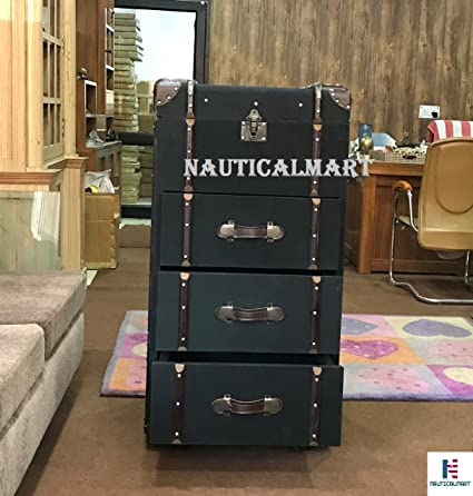 nauticalmart wardrobe trunk faux leather with drawers exclusive furniture - Wardrobe Trunk