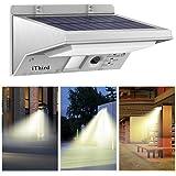 Lámparas Solares, iThird 21 LED Luz Solar con Sensor de Movimiento Focos Impermeable Luz Solar Exterior para Jardín, Terraza, Garaje, Camino de Entrada Iluminación Exteriores Blanco Cálido