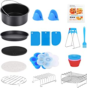 17 Pcs Air Fryer Accessories with Recipe Cookbook for Growise Phillips Cozyna Fits All 3.2QT - 5.8QT Air Fryer, 7in Deep Fryer Accessories