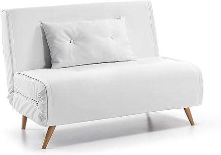 Kave Home - Sofá Cama Clic clac de 2 plazas Tupana en Piel sintética Blanca con Patas de Madera de Haya