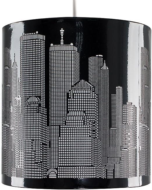 Paralume Moderno E Di Metallo Nero Lucido Con Motivo Del Profilo Di New York Per Lampada A Sospensione Amazon It Illuminazione